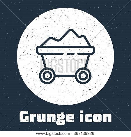 Grunge Line Coal Mine Trolley Icon Isolated On Grey Background. Factory Coal Mine Trolley. Monochrom