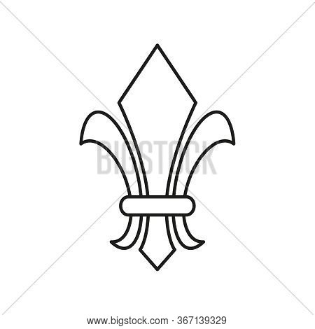 Fleur De Lis Heraldic Icon. Vector Lily Flower On A White Background.