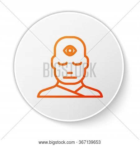 Orange Line Man With Third Eye Icon Isolated On White Background. The Concept Of Meditation, Vision