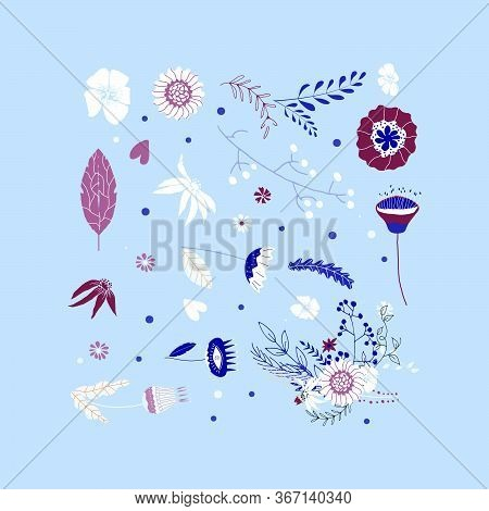 Set Of Floral Elements Flat Vector Illustration. Flowers And Leaves In A Set For Design, Print, Text