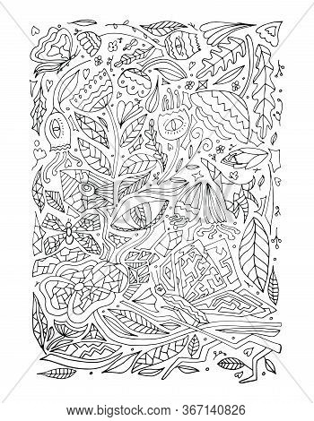 Children's Or Adult Coloring Book On The Theme Of The Botanical Garden And Flowers. Set With Flowers