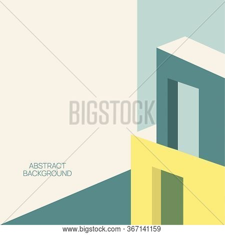 Modern Trendy Abstract Cubism Background. Geometric Shapes In Perspective. Pastel Shades.