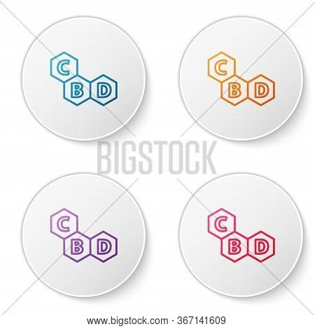 Color Line Cannabis Molecule Icon Isolated On White Background. Cannabidiol Molecular Structures, Th