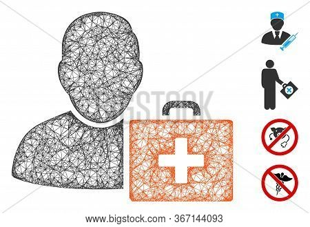 Mesh First Aid Man Web 2d Vector Illustration. Carcass Model Is Based On First Aid Man Flat Icon. Me