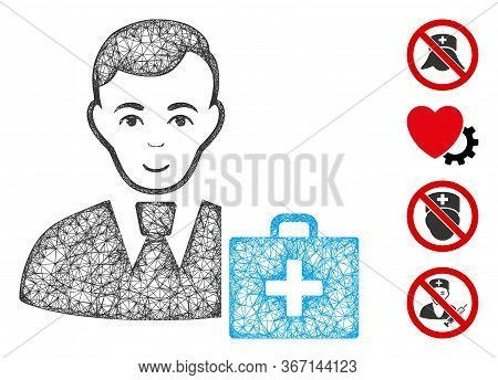 Mesh First-aid Manager Web Icon Vector Illustration. Abstraction Is Based On First-aid Manager Flat