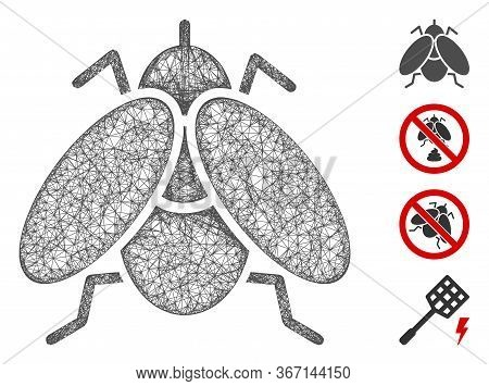 Mesh Fly Insect Web 2d Vector Illustration. Carcass Model Is Based On Fly Insect Flat Icon. Network