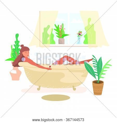 Girl Takes A Relaxing Bath At Home And Drinks Wine Cartoon Flat Vector Illustration. A Woman Relaxes