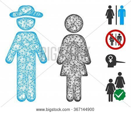 Mesh Gentleman And Lady Web 2d Vector Illustration. Carcass Model Is Based On Gentleman And Lady Fla