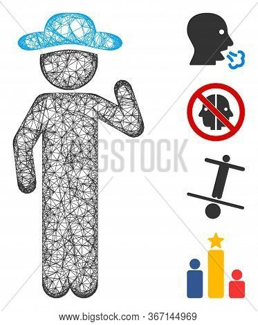 Mesh Gentleman Opinion Web Icon Vector Illustration. Model Is Created From Gentleman Opinion Flat Ic