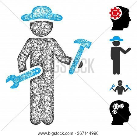 Mesh Gentleman Serviceman Web Icon Vector Illustration. Model Is Based On Gentleman Serviceman Flat