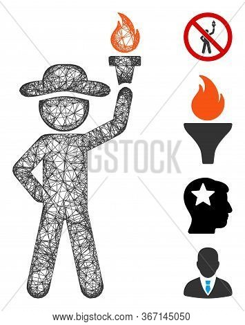 Mesh Gentleman With Freedom Torch Web 2d Vector Illustration. Model Is Based On Gentleman With Freed