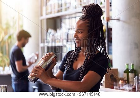 Female Bartender Mixing Cocktail In Shaker Behind Bar