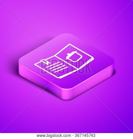 Isometric Line Cookbook Icon Isolated On Purple Background. Cooking Book Icon. Recipe Book. Fork And