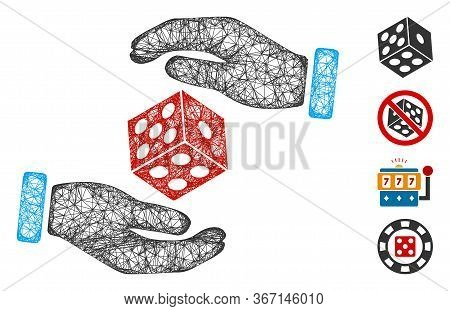Mesh Hands Throw Dice Web Icon Vector Illustration. Carcass Model Is Based On Hands Throw Dice Flat