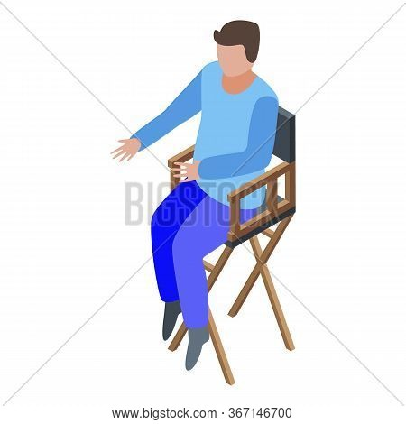 Art Director In Chair Icon. Isometric Of Art Director In Chair Vector Icon For Web Design Isolated O