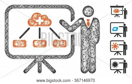 Mesh Health Care Lecture Web Icon Vector Illustration. Model Is Based On Health Care Lecture Flat Ic