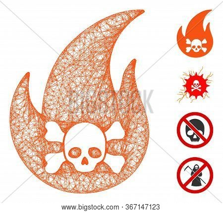Mesh Hellfire Web Icon Vector Illustration. Abstraction Is Based On Hellfire Flat Icon. Mesh Forms A