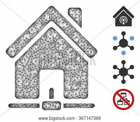 Mesh Home Internet Connection Web Icon Vector Illustration. Model Is Based On Home Internet Connecti