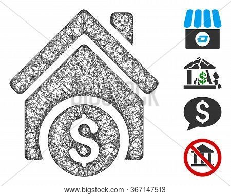 Mesh Home Price Web Icon Vector Illustration. Carcass Model Is Created From Home Price Flat Icon. Me