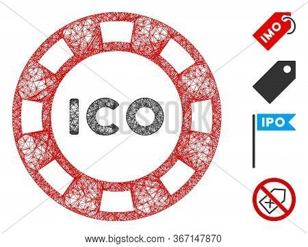 Mesh Ico Token Web Icon Vector Illustration. Model Is Based On Ico Token Flat Icon. Mesh Forms Abstr