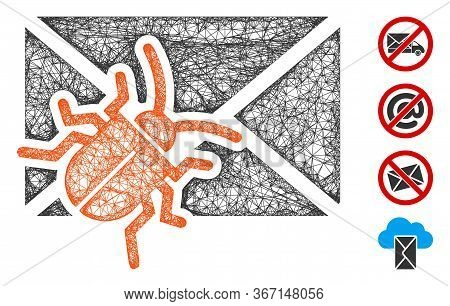 Mesh Infected Mail Web Symbol Vector Illustration. Carcass Model Is Created From Infected Mail Flat