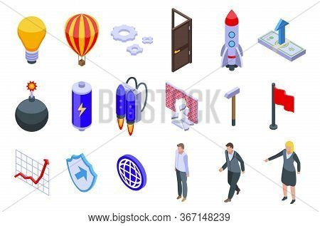 Breakthrough Icons Set. Isometric Set Of Breakthrough Vector Icons For Web Design Isolated On White