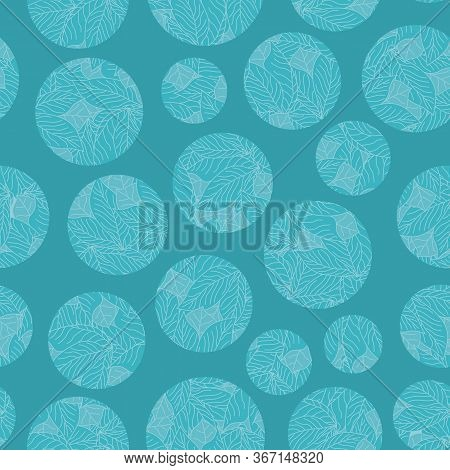 Vector Floral Circles In Aqua On Aqua Background Seamless Repeat Pattern. Background For Textiles, C
