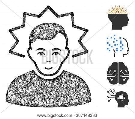 Mesh Inventor Web Icon Vector Illustration. Carcass Model Is Based On Inventor Flat Icon. Network Fo