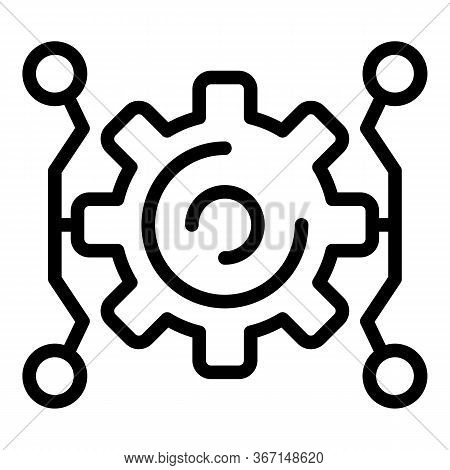 Gear Wheel Sociology Icon. Outline Gear Wheel Sociology Vector Icon For Web Design Isolated On White
