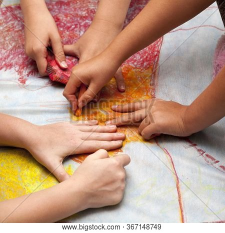 A Group Of Young Kids Drawing On A Special Canvas With Colorful Pastels, Hands Visible. Diy, Do It Y