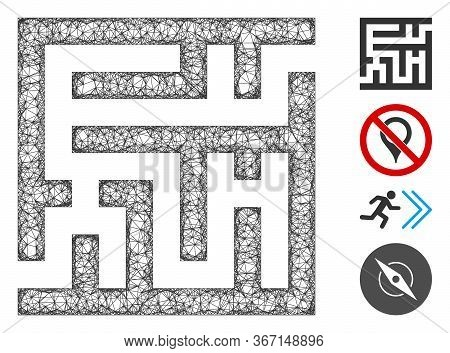 Mesh Labyrinth Web 2d Vector Illustration. Carcass Model Is Based On Labyrinth Flat Icon. Network Fo