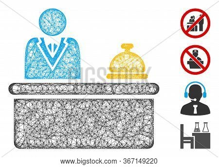 Mesh Lobby Desk Web Symbol Vector Illustration. Carcass Model Is Based On Lobby Desk Flat Icon. Netw