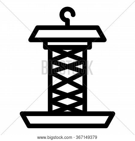 Steel Bird Feeder Icon. Outline Steel Bird Feeder Vector Icon For Web Design Isolated On White Backg