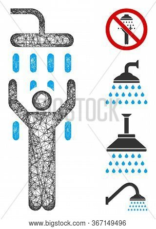 Mesh Man Under Shower Web Icon Vector Illustration. Abstraction Is Based On Man Under Shower Flat Ic