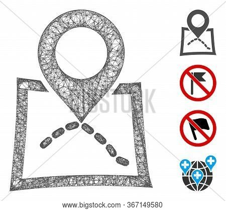 Mesh Map Marker Web Icon Vector Illustration. Model Is Based On Map Marker Flat Icon. Network Forms