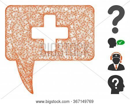 Mesh Medical Answer Web Icon Vector Illustration. Abstraction Is Based On Medical Answer Flat Icon.