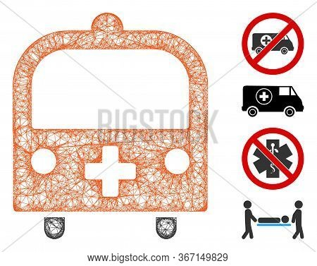 Mesh Medical Bus Web Symbol Vector Illustration. Carcass Model Is Based On Medical Bus Flat Icon. Me