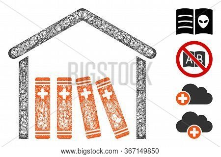 Mesh Medical Library Web Symbol Vector Illustration. Carcass Model Is Based On Medical Library Flat