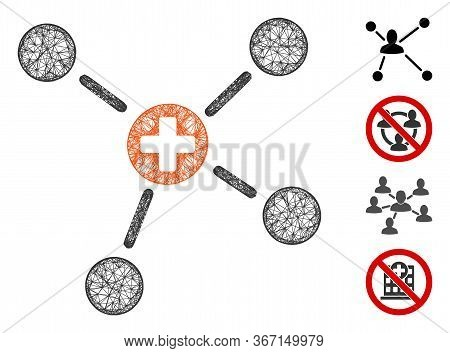 Mesh Medicine Links Web 2d Vector Illustration. Carcass Model Is Based On Medicine Links Flat Icon.