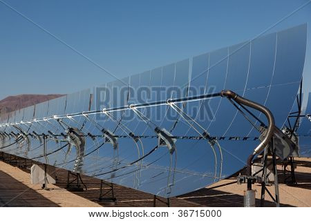 Solar collection panels at a solar power plant in the Mojave Desert in California