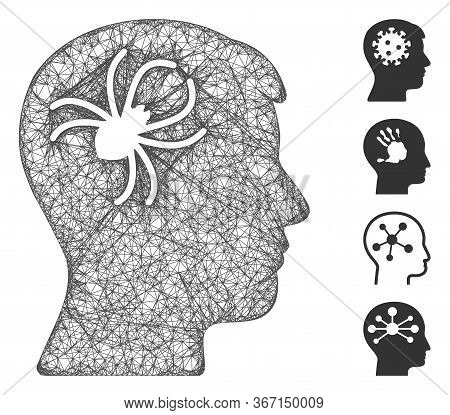 Mesh Mental Parasite Spider Web Icon Vector Illustration. Model Is Created From Mental Parasite Spid