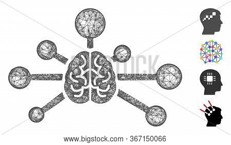 Mesh Mind Control Links Web 2d Vector Illustration. Model Is Based On Mind Control Links Flat Icon.