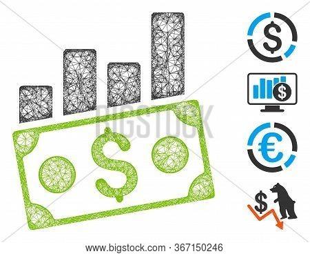 Mesh Money Charts Web Symbol Vector Illustration. Model Is Based On Money Charts Flat Icon. Network