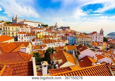 Alfama Old Town District Viewed From Miradouro Das Portas Do Sol Observation Point In Lisbon, Portug