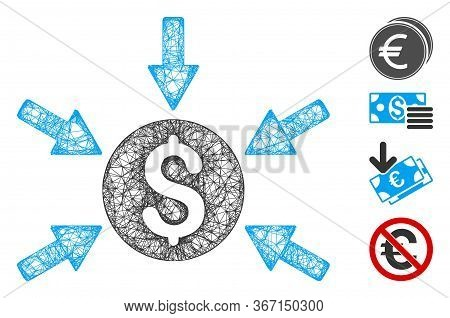 Mesh Money Income Web Icon Vector Illustration. Carcass Model Is Based On Money Income Flat Icon. Me
