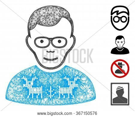 Mesh Nerd Guy Web Icon Vector Illustration. Carcass Model Is Based On Nerd Guy Flat Icon. Mesh Forms