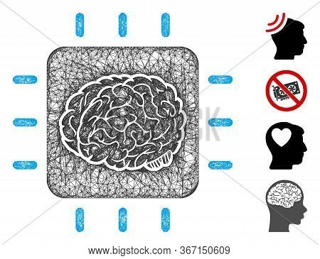 Mesh Neural Processor Web Icon Vector Illustration. Carcass Model Is Based On Neural Processor Flat