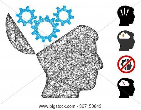 Mesh Open Mind Gears Web Icon Vector Illustration. Model Is Based On Open Mind Gears Flat Icon. Netw