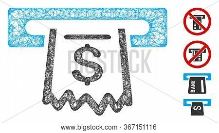 Mesh Paper Receipt Terminal Web Icon Vector Illustration. Model Is Created From Paper Receipt Termin