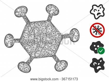 Mesh Parasite Microbe Web Icon Vector Illustration. Model Is Based On Parasite Microbe Flat Icon. Ne
